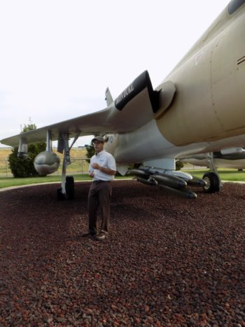 "Steve near an F-105 ""Thud"" fighter-bomber on a recent Intro to Aeronautics field trip."